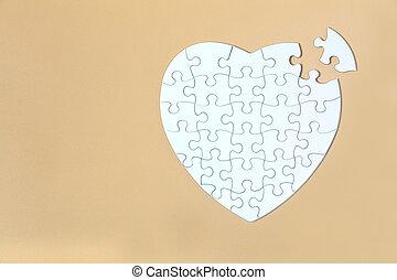 piece., stukken, ruimte, achtergrond, raadsel, missende , witte , gele, eind-, kopie, jigsaw, task., vervolledigen