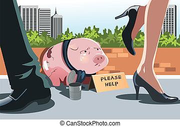 piggy bank , panhandling