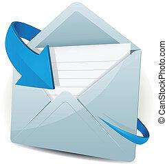 pijl beeld, blauwe , email