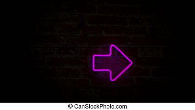 pijl, stap, neon ontsteken