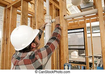 pijp, arbeider, bouwsector, het verbinden