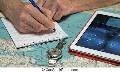 piloot, weer, digitaal tablet, schouwend