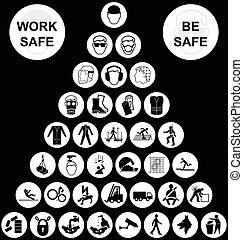 piramide, verzameling, gezondheid, veiligheid, witte , pictogram