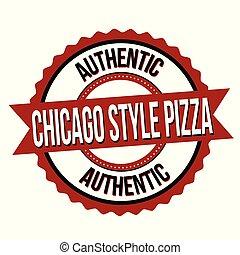 pizza, etiket, chicago, sticker, stijl, of