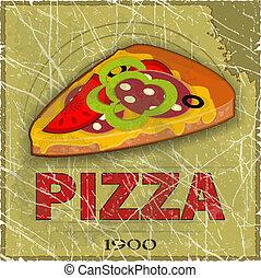 pizza, grunge, menu, dekking