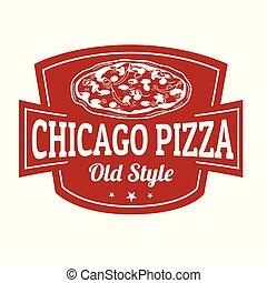 pizza, meldingsbord, chicago, postzegel, of