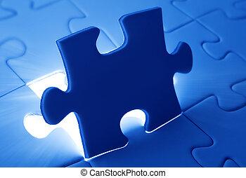 plaatsing, raadsel, jigsaw, duur stuk