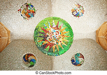 plafond, gekleurde, guell, mozaïek, zaal, tegel, barcelona., parc, hypostyle