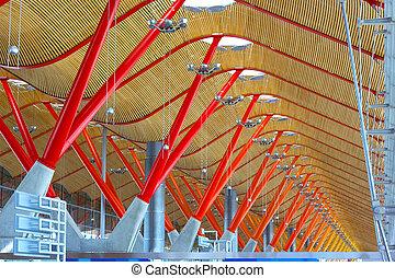 plafond, madrid., madrid, dak, terminal, luchthaven, details, spain., internationaal, barajas, structuur