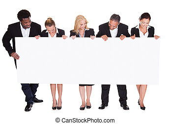 plakkaat, groep, businesspeople, vasthouden