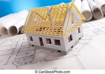 plan, gereedschap, architectuur, &