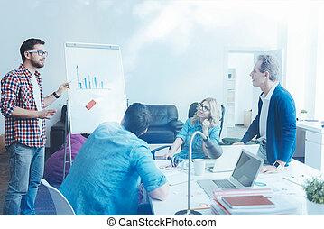 plan, vermakelijk, droom, werkende , team