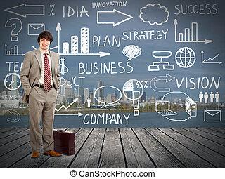 plan., zakenman, standingnear, innovatie