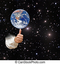 planeet, communie, beeld, aarde, nasa, gemeubileerd, finger., dit