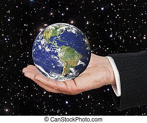 planeet, communie, beeld, aarde, nasa, gemeubileerd, palm., dit