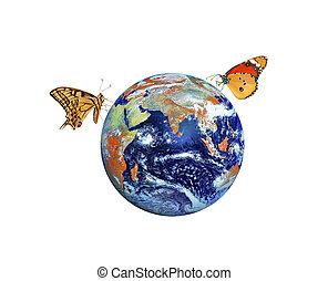 planeet, communie, beeld, nasa, earth., vlinder, gemeubileerd, dit