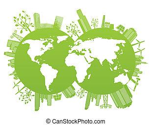planeet, groene, milieu