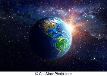 planeet land, buitenste ruimte