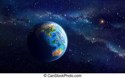 planeet land, diep, ruimte