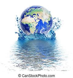 planeet land, druppel, water, zoals