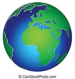 planeet land, globaal, pictogram, wereld