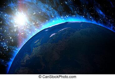planeet land, universe., zonopkomst