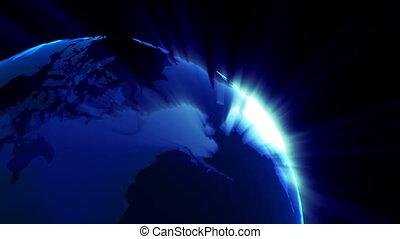 planeet, sunbeams, loopable, ronddraaien, achtergrond, aarde