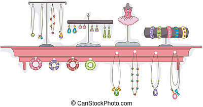plank, juwelen, display