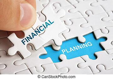 planning., financieel, woorden, raadsel, hand houdend, stuk