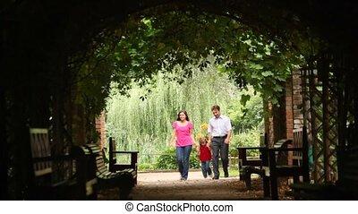 plant, gezin, tunnel, wandeling, vooraanzicht