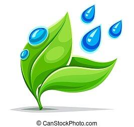 plant, gezonde , bladeren, leven, environment., groene, vector., growing.