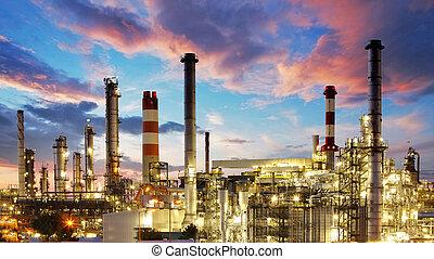 plant, olie, gas, industrie, -, fabriek, raffinaderij, petrochemische stof, schemering