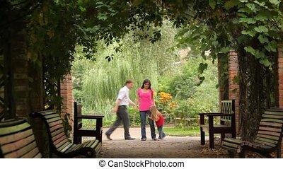 plant, spelend, gezin, tunnel, spel, park