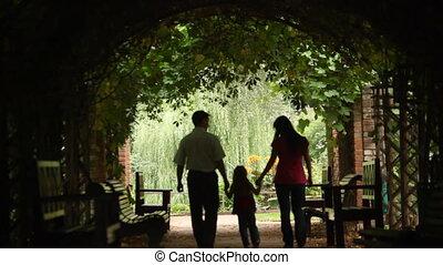 plant, tunnel, silhouettes, ouders, wandelingen, geitje