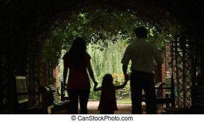 plant, tunnel, wandelingen, achter, ouders, kind, aanzicht