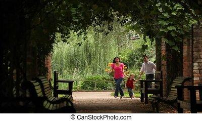 plant, uitvoeren, tunnel, ouders, kind, voorkant, vrolijke , aanzicht