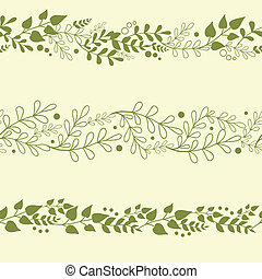 planten, set, achtergronden, drie, seamless, motieven, groene, horizontaal