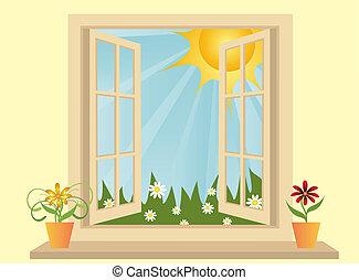 plastic, aanzicht, venster, groene, geopend, akker, kamer