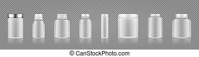 plastic, transparant, geneeskunde, pillen, of, toevoegsel, set, mockups, lege fles