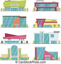 plat, centrum, shoppen , moderne, gebouwen, supermarkt, mall, vector