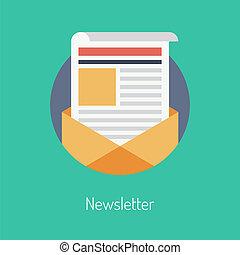 plat, concept, newsletter, illustratie