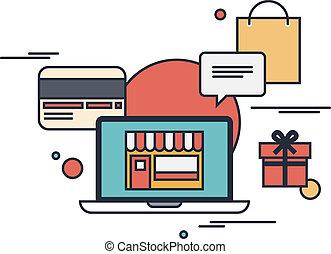 plat, concept, shoppen , illustratie, online