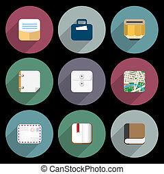plat, de pictogrammen van het bureau, items, zakelijk, voorwerpen