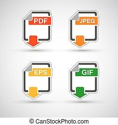 plat, formaat, set, bestand, pictogram