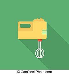 plat, groot, set, iconen, gebruiken, stijl, mixer,  , lang, veel, uitrusting, more., elektronisch, schaduw, kicthen, pictogram