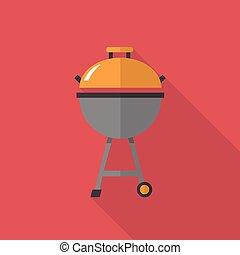plat, groot, set, vlees, iconen, veel, gebruiken, lang,  , stijl, uitrusting, grill, more., elektronisch, schaduw, kicthen, pictogram