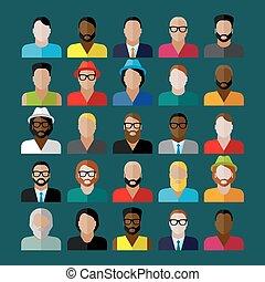 plat, iconen, mannen, uiterlijk, verzameling, icons., mensen