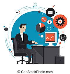 plat, illustratie, kantoor, zakenman