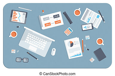 plat, illustratie, vergadering, zakelijk