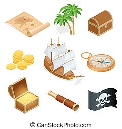 plat, isometric, houten, flag., schat, accessoires, illustratie, vrolijk, icons., borst, vector, black , verzameling, roger, zeerover